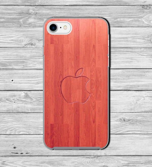 Embossed apple logo wood effect