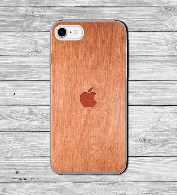Apple Iphone logo wood effect